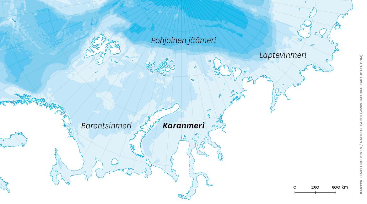 Kuva 1. Karanmeri ympäristöineen. Kartta Eemeli Nieminen.